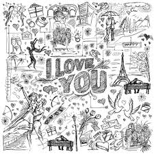 vector sketch frame background with love story elements vector