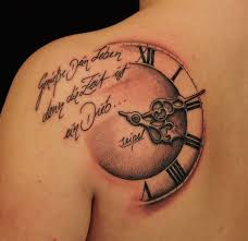 words and clock tattoomagz