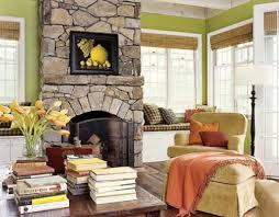 stone fireplace insert glass tile windows corner bookcase glass
