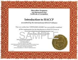 haccp certification training home education programs