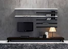 modern wall mounted tv shelves with recessed lighting ideas for