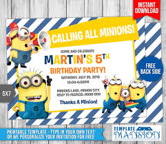 despicable me birthday party invitations free printable