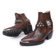 s boots biker s brown leather skull ankle boots