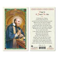 prayer card francis de sales laminated prayer card