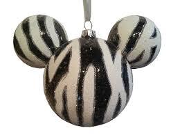 ornament mickey mouse ears zebra glitter
