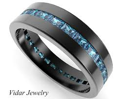 blue diamond wedding rings black gold rings baguette blue diamond wedding band for mens