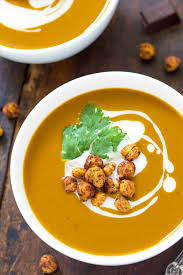 chocolate roasted butternut squash soup with roasted chickpeas
