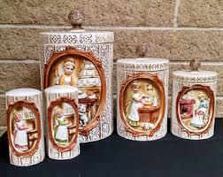vintage ceramic kitchen canisters vintage ceramic kitchen canisters etsy
