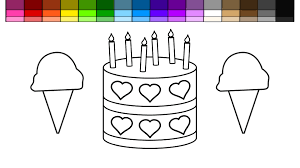 learn colors for kids and color this ice cream heart birthday cake