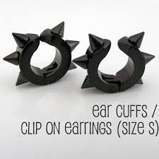 clip on earrings for men clip on spike earrings men s earrings black ear cuff