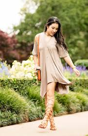 boho chic in a cold shoulder dress gladiator sandals cute