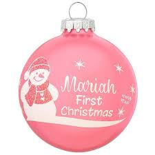 personalized baby s ornament pink glass bronner s