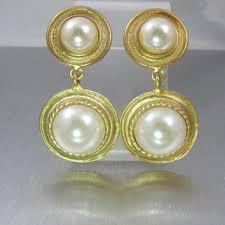 1960 s earrings bridal pearl earrings gold pearl dangle from tonettestreasures