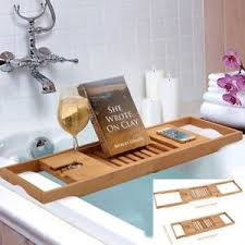 10x bathtub caddy bamboo bath tub rack tray bathroom cloth book