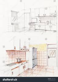 Floor Plan Of An Apartment Interior Hand Drawn Perspetive Apartment Kitchen Stock