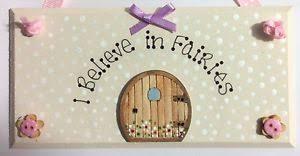 Tooth Fairy Gift Handpainted I Believe In Fairies Fairy Door Plaque Sign Tooth