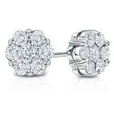 diamond earrings price 14k white gold prong set cluster diamond earring 0 25 ct tw