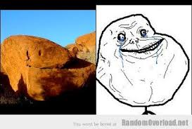 Alone Meme - a rock from ayers rock totally looks like forever alone meme