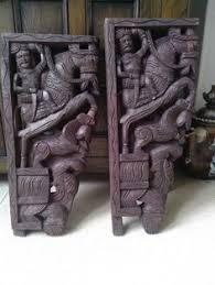 indian painted wooden carving corbel corner bracket vintage