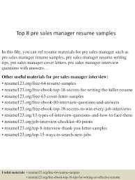 sales manager resume example top8presalesmanagerresumesamples 150521071100 lva1 app6892 thumbnail 4 jpg cb 1432192304