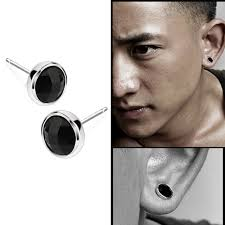 mens earrings studs fashion 1pair mens black agate silver ear studs earrings