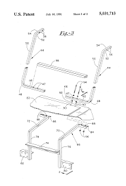 patent us5031713 support bracket for golf cart roof assembly