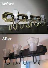 Bathroom Lighting Cheap How To Change Brass And Chrome Light Fixtures To Rubbed Bronze