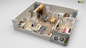 house 3d floor plan design with different views on behance