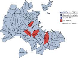 Map Of South Shore Boston by Service Area Fallon Ambulance Service