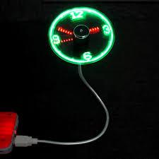 usb mini flexible time led clock fan with led light cool gadget