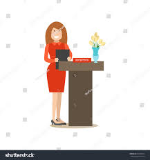 Restaurant Reception Desk Restaurant Reception Concept Vector Illustration Young Stock