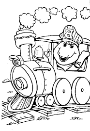barney driving train coloring pages barney driving train