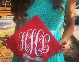 monogram graduation cap monogram vinyl decal for graduation cap personalized