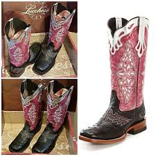 best lucchese black and pink square toe ostrich cowboy boots