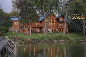golden eagle log and timber homes log home cabin pictures lakeside view of home