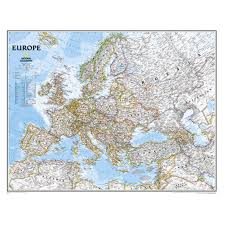 European Continent Map by National Geographic 3 U00279