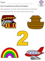 noah u0027s ark story comprehension and memory worksheets easy