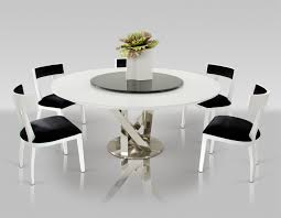 Spiral Modern Round White Dining Table With Lazy Susan - Black and white contemporary dining table