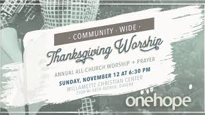 onehope thanksgiving worship prayer