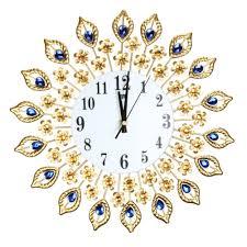luxury diamond peacock large wall clocks metal living room