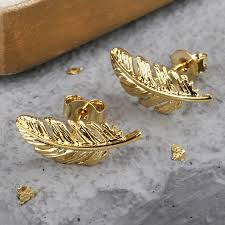 gold feather earrings gold feather earrings jewellery angel delicate