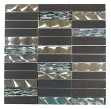silver and black stainless steel with black wave glass mosaic tile em