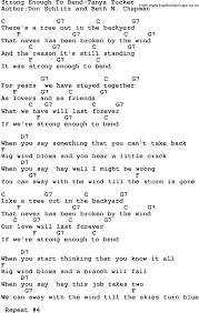 country music strong enough to bend tanya tucker lyrics and chords