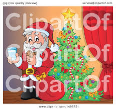 clipart of a christmas santa claus enjoying a snack of milk and