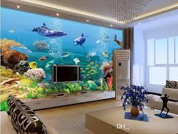 dolphin home decor 3d room wallpaper custom photo mural dolphin fish coral aquarium