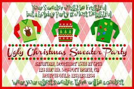 ugly holiday sweater party invitation wording cardigan with buttons