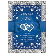 royal blue wedding invitations royal blue wedding invitation faux foil silver floral printed