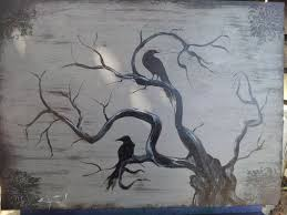 creepy tree crows in creepy tree painting plants flowers