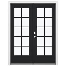 Lowes Patio French Doors by Shop Reliabilt 59 5 In 10 Lite Glass Peppercorn Steel French