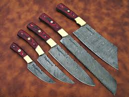 damascus steel chef knife set cs 5 knives gulf